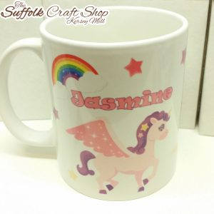 personalised unicorn mug - the Suffolk craft shop Hadleigh